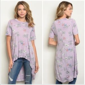 Lavender High Low Floral Shirt *143rd Style Haus*